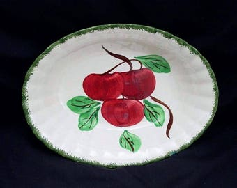 Blue Ridge Bowl BIG APPLE Oval Vegetable 7 x 9.5 x 2 Serving Dish Hand Painted Red Green Fruit Design Colonial Dinnerware (B32) 9997