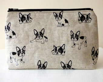 French Bulldog Cosmetic Bag, Frenchie Makeup Bag, Famous Pet Dog Breed Print Zipper Pouch, Gadget Case, Linen Beauty Pouch, Sanitary Pouch