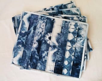 Hand Dyed Shibori Placemats, Set of 4 Shibori Placemats, Shibori Table Decor, Shibori Dyed, Boho Placemats, Boho Tableware, Indigo Placemats