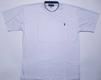 Polo by Ralph Lauren Vintage White Double Collared T Shirt XXL