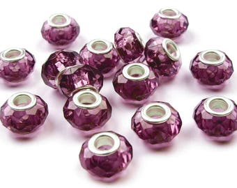 2 European beads polished beads 14 x 9mm in Berry