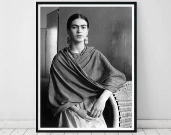Frida Kahlo poster • Frida Kahlo print Black and White Photograph Frida Kahlo printable Frida Kahlo decor Frida Kahlo poster Frida Kahlo art
