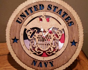 US Navy Clock Wall Tribute ManCave Military Army Navy Air Force Marines Personalized Stand Available