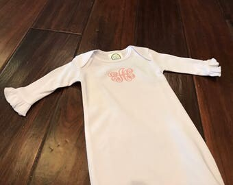 Ruffle Sleeve Baby Gown with Embroidered Monogram and Hidden Zipper