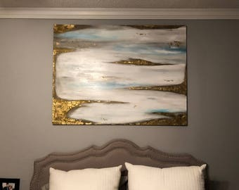 Original abstract pating with white, gray, bronze, blue, gold leafing, and glossy varnish