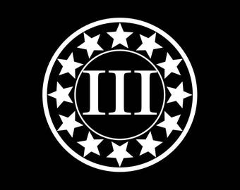 12 Star III% sticker, round, vinyl.
