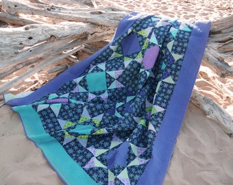"""Purple and Teal  Turquoise Star Quilt 80"""" by 102"""" longarm quilted"""