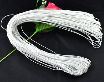 80 meters WAXED cotton thread cord 1 mm white color