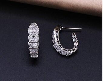 Micropaved Snake Earrings