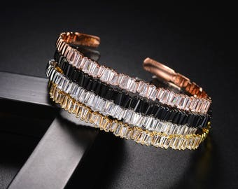Cubic zirconia Baguette bracelet thin bangle cuff copper base with Gold-Color