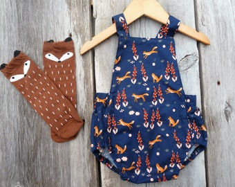 Baby romper, Organic baby girls clothes, boho baby girl,summer baby clothes,fox baby girl clothes,boho baby girls clothes,woodland baby girl