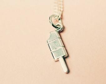 sterling silver ice block pendant