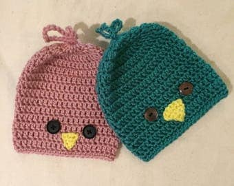 little bird hat, crochet baby hats, twins, baby gift, baby registry, handmade, soft hats