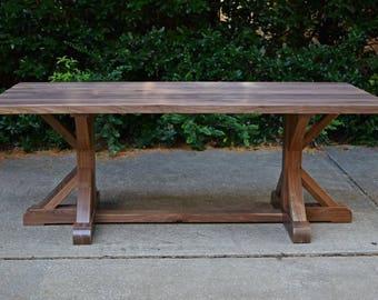 Belgian Trestle Dining Table - Walnut