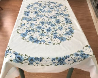 Retro Tablecloth, Blue And White Flowered Tablecloth, Vintage Kitchen Tablecloth, Imperfect Retro Tablecloth, Vintage Table Linens