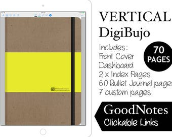 Digital Bullet Journal Vertical DigiBujo for GoodNotes with Hyperlinks