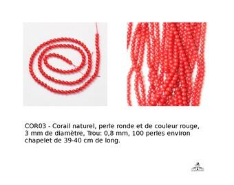Corail naturel, perle ronde, de couleur rouge, 3 mm de diamètre, Trou: 0,8 mm,  100 pcs / chapelet de 39-40 cm de long,