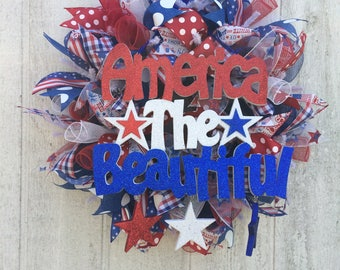 Fourth of July Wreath/ 4th of July Wreath/ 4th of july mesh wreath/ Independance Day Wreath/ Front Door Wreath
