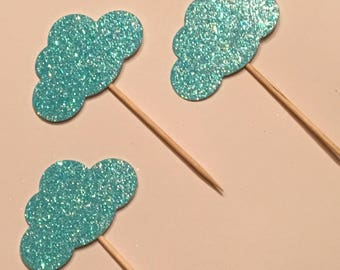 12 Cloud Toppers Glitter Toppers Blue Cloud Toppers Baby Toppers Baby Shower Toppers Birthday Toppers Boy Toppers