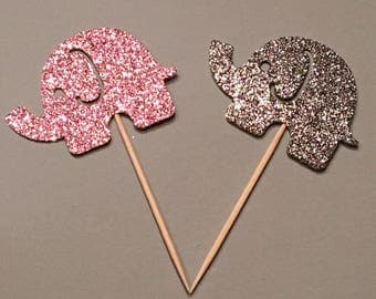 12 Elephant Topper Glitter Toppers Silver and Pink Toppers Baby Shower Toppers Birthday Toppers Girl Toppers