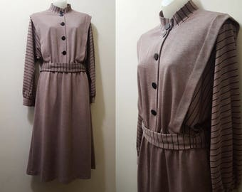 1980s Dress / 80s does 40s Striped Batwing Sleeve Dress