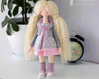 Textile doll Rag doll Textile interior doll  Fabric doll Doll as a gift Handmade Tilda Home decoration doll Pink Grey Blonde curly doll
