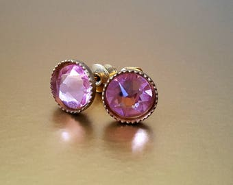 Light Rose Swarovski Crystal Gold Plate Stud Earrings
