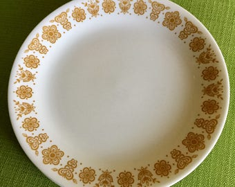 Vintage 70s Butterfly Gold Corelle Dinner Plates Set of 12