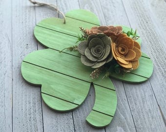 Wood Clover Wall Hanging, Felt Flower Sign, St. Patrick's Day Decor, St. Patty's Day Decor, Wood Shamrock Sign