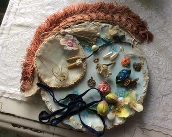 Vintage And Antique Doll Trim Lot, Silk Ribbon Work, Trims, Millinery and Much More, Fabulous Lot!