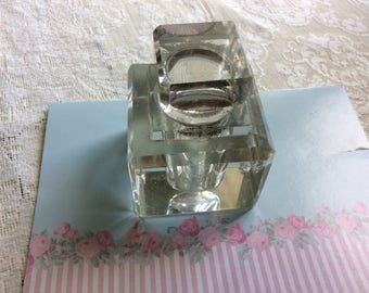 Antique, Victorian Glass Ink Well with Stopper