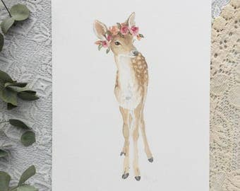A4 Fawn with Flower Crown