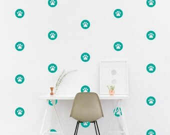 Dog Paw Circle wall Decal Dog Paw Kids room Wall Sticker Kids Bedroom Pattern Wallpaper Vinyl Wall Decals Nursery Wall Stickers Home Decor