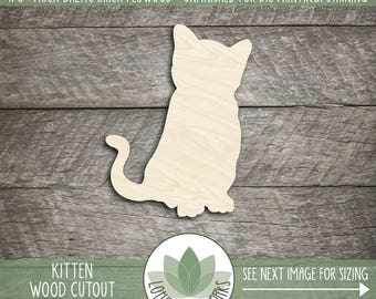 Kitten Wood Cut Shape, Unfinished Wood Kitten Laser Cut Shape, DIY Craft Supply, Many Size Options