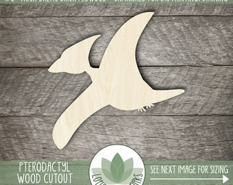 Wood Dinosaur Cutout, Laser Cut Wooden Pterodactyls, Dinosaur Wall Decor, Unfinished Wood For DIY Projects, Many Sizes, Dinosaur Party Favor
