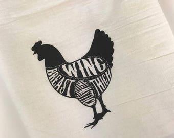 Chicken Tea Towel, Barnyard Kitchen Towels, Butcher Cuts Towel, Farmhouse Kitchen, Animal Tea Towels, Screenprinted towel, Stocking Stuffer