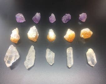 Raw Crystal Points (Amethyst, Citrine, & Quartz) Sold in Sets of 15 Crystal Points for Jewelry