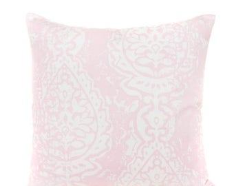 SALE ENDS SOON Light Pink Medallion Throw Pillow Cover, Pink Decorative Pillows, Pink Nursery Toss Pillows, Girls Room Decor, Soft Pillows