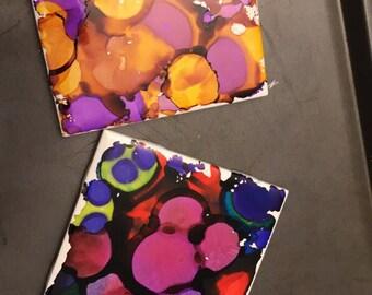 Inked tile coasters
