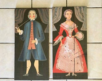 Vintage George Nathan Art, George Nathan Associates, Colonial Woman, Colonial Man, Red Vintage Gown, Colonial Couple, Farmhouse Style