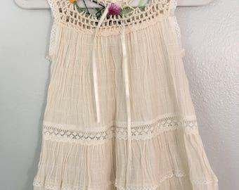 Size 1 hand crochet cotton dress