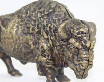 Piggy Bank- Buffalo Coin Bank- Cast Brass Bank