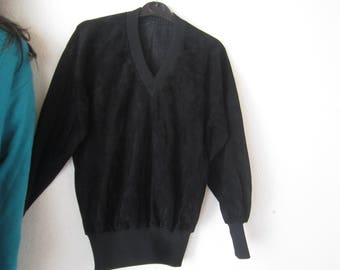 Vintage 70s Leather sweater s
