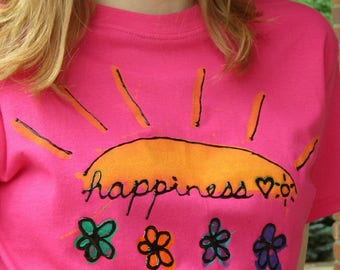 Happiness tee shirt hand painted
