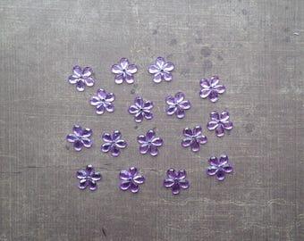 Lot 50 rhinestones form flower 1.1 cm Parma Violet