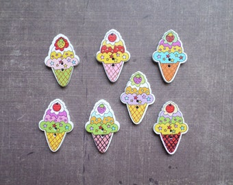 10 wooden buttons shaped Dessert Ice Cone