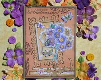 Bouquet flowers Bon card birthday purple Orange