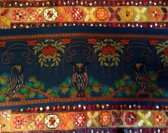 Arts & Crafts wall hanging panel hand embroidered owls woolwork late 19thc large Morris Liberty Red House style foliage dark blue