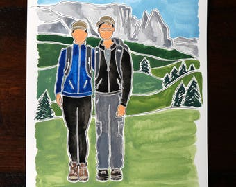Custom 2-Person (+BACKGROUND) Personalized Watercolor/Acrylic Portrait Painting