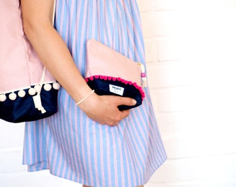 Cosmetic Bag Pompoms Pink